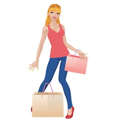Shopping girl in casual wear2 vector