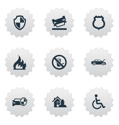 Set of simple warrant icons elements automobile vector