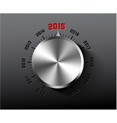 2015 new year card with chrome knob vector image