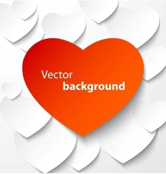Red paper heart banner with drop shadows vector