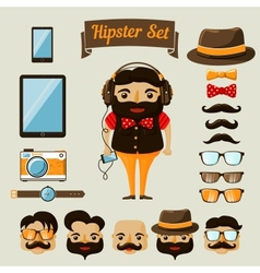 Hipster character elements for nerd boy vector