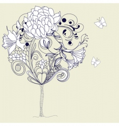 Hand drawn tree sketch vector