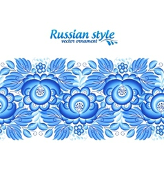 Blue floral ornate line in gzhel style vector image
