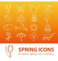 Spring outline icons vector