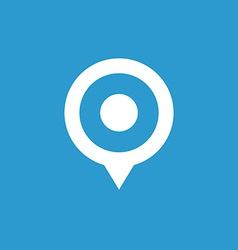 Map pin icon white on the blue background vector
