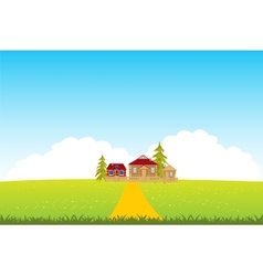 Village in clean field vector