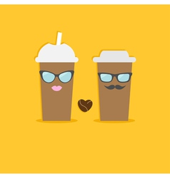 Two disposable coffee paper cups bean heart vector