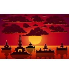 Landscape with indonesian temples in sunset vector