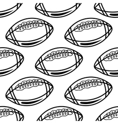 Seamless pattern with outline rugby balls vector