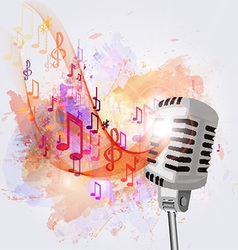 Old microphone and musical notes vector