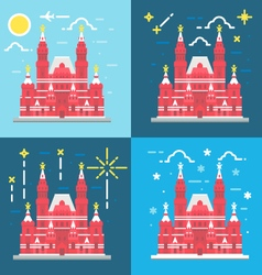 Red square building flat design vector
