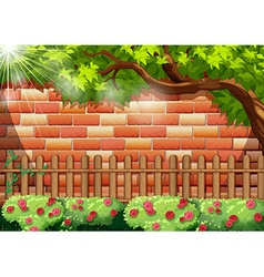 Brick wall and wooden fence vector