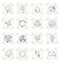 Eco sticker icon set vector