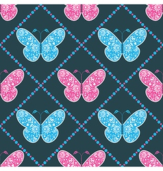 Seamless pattern with symmetrical blue butterfly vector