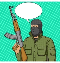 Terrorist man with weapon pop art style vector