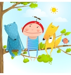 Child animal friends childhood sitting tree branch vector image