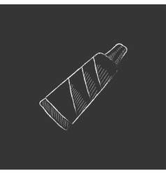 Tube of toothpaste drawn in chalk icon vector