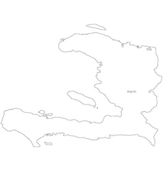 Black white haiti outline map vector