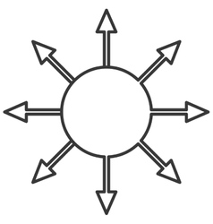 Circle with arrows coming out icon vector