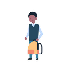 African american school boy holding backpack vector