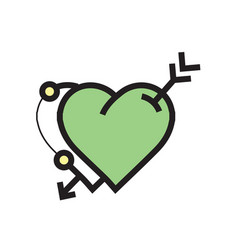 Arrow on twins heart icon green vector