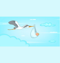 baby born stork horizontal banner cartoon style vector image