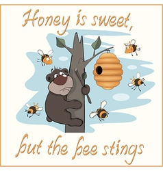 Bear and bees postcard vector