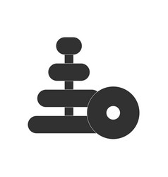 Black icon on white background children ring toy vector