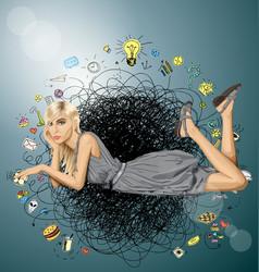 blonde in pink lies on a floor vector image