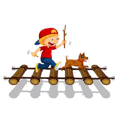 Boy and dog running on the bridge vector