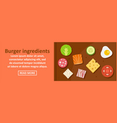 Burger ingredients banner horizontal concept vector