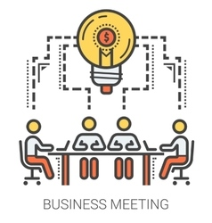 Business meeting line infographic vector