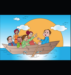 business team on boat vector image vector image