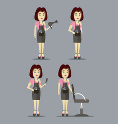 Caucasian stylist characters set vector