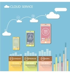 Cloud services mobile flat web infographic vector image vector image