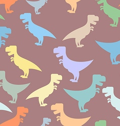 Color cute dinosaurs seamless background Repeating vector image