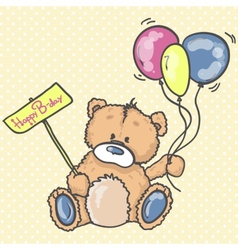 Cute Teddy bear with the colorful balloons vector image