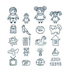 Family icons set in doodle style hand drawn vector
