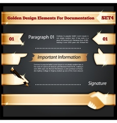 Golden Design Elements For Documentation Set4 vector image vector image