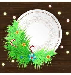 Greeting Christmas and New Year paper card with vector image vector image