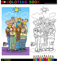 Happy Teenagers group for coloring vector image