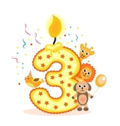 Happy Third Birthday Candle and Animals Isolated vector image