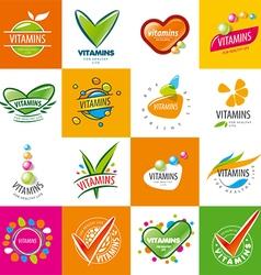 Large set of logos vitamins vector