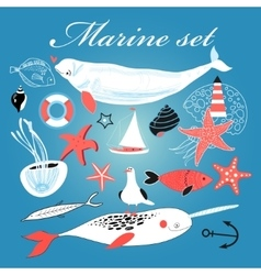 Marine set of different elements vector image