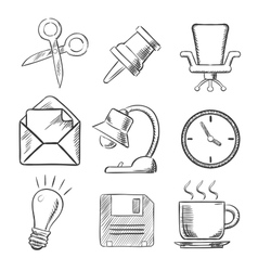 Office and business sketched icons vector