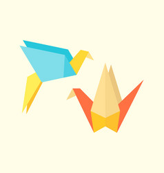 Origami birds crane abstract nature icon craft vector