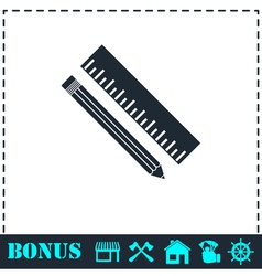 Pencil and ruler icon flat vector image vector image