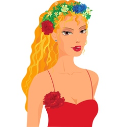 Red haired girl in a wreath vector image vector image