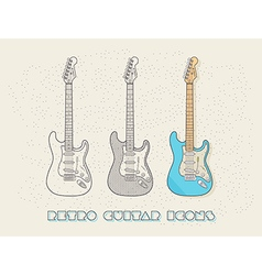 Retro wired design guitar icons vector