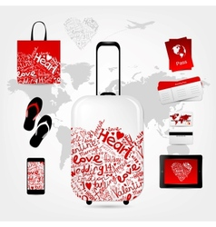 Romantic travel suitcase with set of trip things vector image vector image